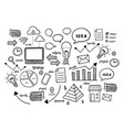 business icon elements doodle black and white vector image vector image