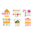 candy world logo templates set sweet and tasty vector image vector image
