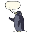 cartoon penguin waving with speech bubble vector image vector image