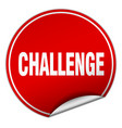 challenge round red sticker isolated on white vector image vector image
