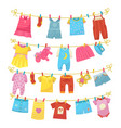 children clothes on rope vector image vector image