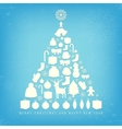 Christmas card with tree and ornaments Xmas card vector image vector image