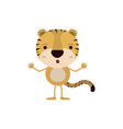 colorful caricature of cute tiger astonished vector image vector image