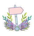 cute arrow guide wooden with flowers vector image
