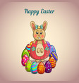 cute cartoon easter bunny with colorfull eggs vector image