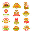 delivery pizza logo badge set vector image vector image