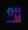 dog with paw print colorful icon vector image vector image