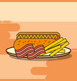 fast food hot dog french fries and bacon vector image