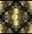 floral gold and black 3d greek seamless pattern vector image vector image