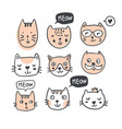 funny doodle outline cats faces collection vector image vector image