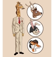 giraffe hipster style elegant dressed with icons vector image
