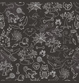 Halloween seamless pattern sketch doodle Hand draw vector image