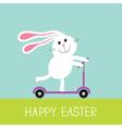 Happy Easter Cute cartoon rabbit hare riding a vector image