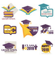 happy graduation isolated icons academic hat and vector image