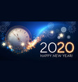 happy hew 2020 year clock fileworks lights and vector image vector image