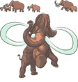 herd mammoths isolated on white background vector image vector image