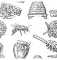Honey Seamless Pattern Jars beer and honeycomb vector image