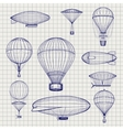 Hot air balloons and zeppelins sketch vector image vector image