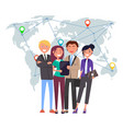 international business team with gadgets laptops vector image