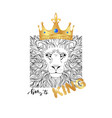 king slogan print lion in gold realistic crown vector image