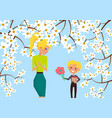 little boy holds gift and flowers for blonde mom vector image vector image