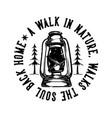 logo design slogan typography a walk in nature vector image