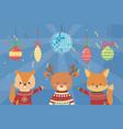merry christmas celebration cute squirrel reindeer vector image