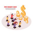 money cult isometric background vector image vector image