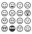 monochrome smile icons set on white background vector image vector image