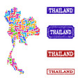 mosaic map of thailand and grunge stamps vector image