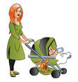 mother with baby drinking milk in pram vector image