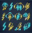 neon lightning powerful thunder symbols glow vector image vector image