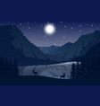 night mountains landscape with two deer near a lak vector image vector image