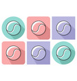 outlined icon tennis ball with parallel and vector image