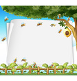 Paper design with bees and beehive vector image vector image