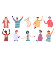 people listen music happy man and woman vector image