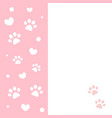 pink frame card with paws and hearts vector image vector image