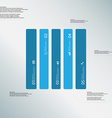 Rectangle template consists of five blue parts on vector image vector image