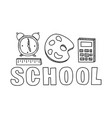 School icons set hand drawn education objects
