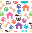 seamless and colorful pet pattern vector image