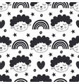 seamless pattern with cute sheep and rainbow vector image