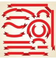 set curled red ribbons vector image vector image