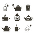 set of 9 icons for tea drinking dishes and vector image vector image