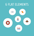 set of america icons flat style symbols with donut vector image vector image