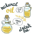 Set of bottles with linseed and olive oil isolated vector image vector image
