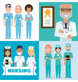 set specialist medical doctors with hat and mask vector image