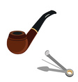 Smoking pipe and cleaning tool vector image vector image