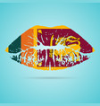 sri lanka flag lipstick on the lips isolated on a vector image vector image