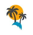 Sun and palm trees vector image