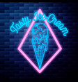 vintage ice cream emblem glowing neon vector image